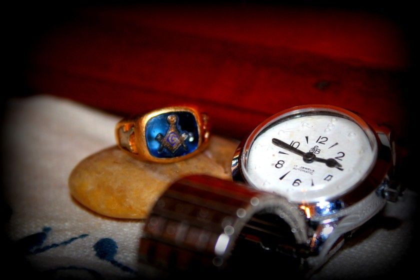 My treasure - my dad's Masonic ring and his braille watch